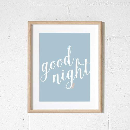 goodnight grey print for nursery or child's bedroom