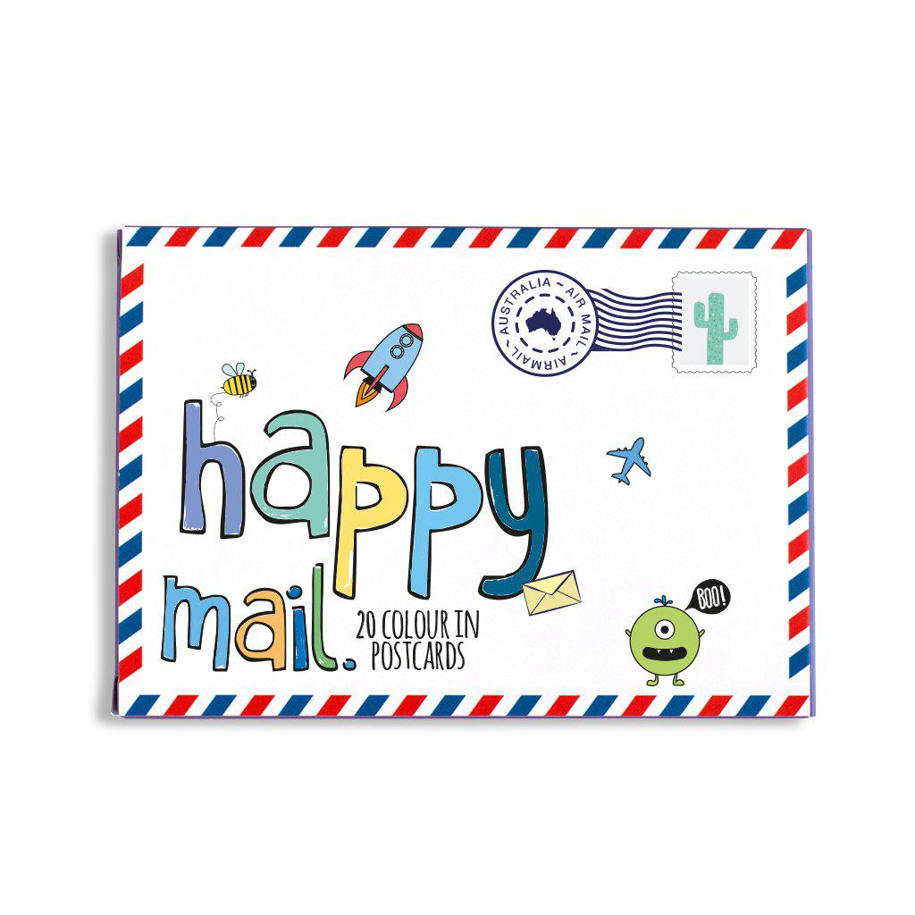 happy Mail blue colour in postcards for kids