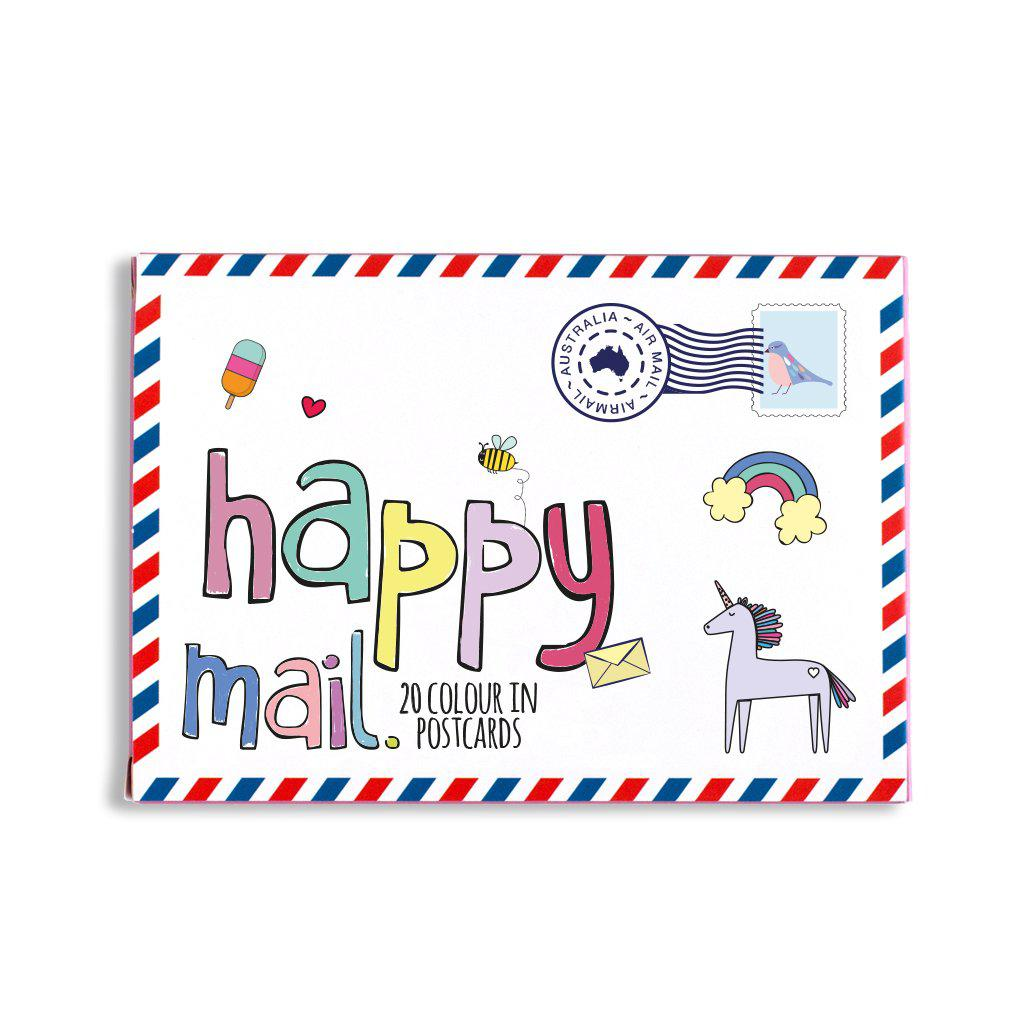 Happy Mail pink colour in postcards unicorns and rainbows