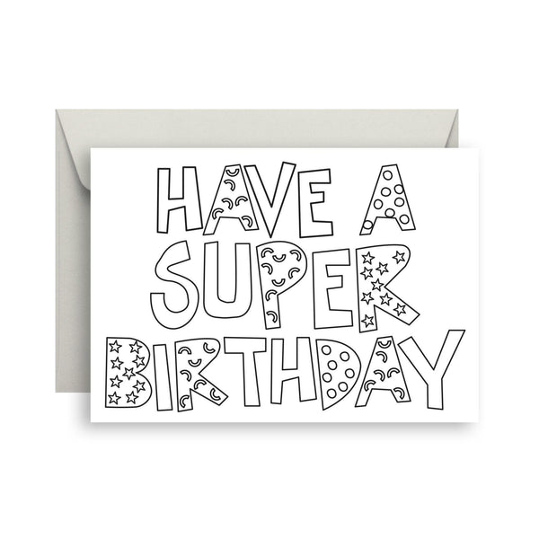 Super birthday - colour me in