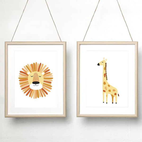 Lion orange / Alfie giraffe print set