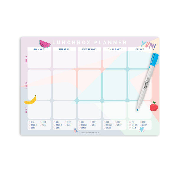 Write on magnetic lunchbox planner