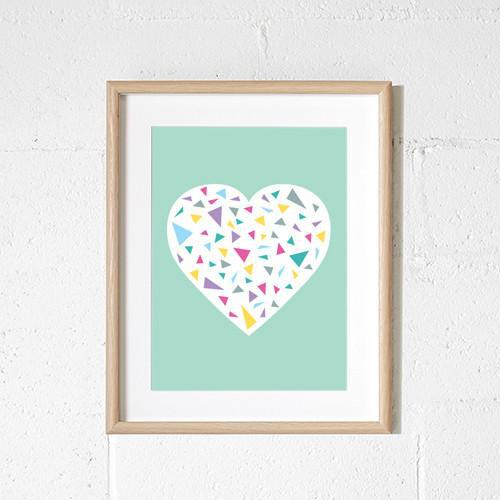mint green heart print with triangles for girls room or nursery