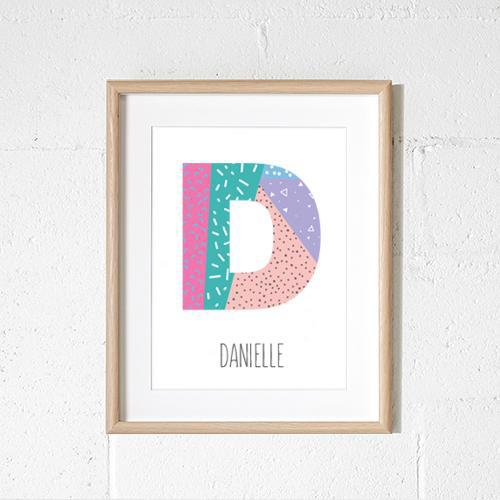 Personalised - Geometric letter print (pink)