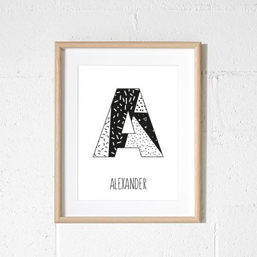 black and white monochrome letter name print personalised baby gift