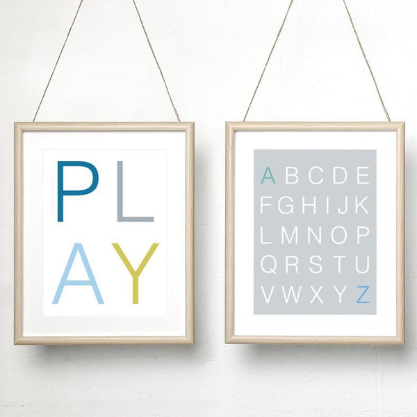 Play (colour) / Alphabet grey print set