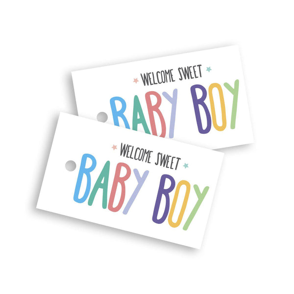 Welcome baby boy gift tag