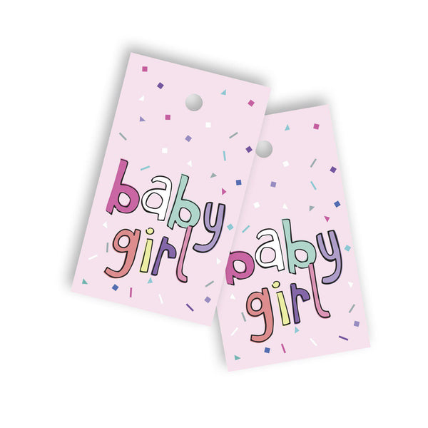 Baby girl confetti gift tag