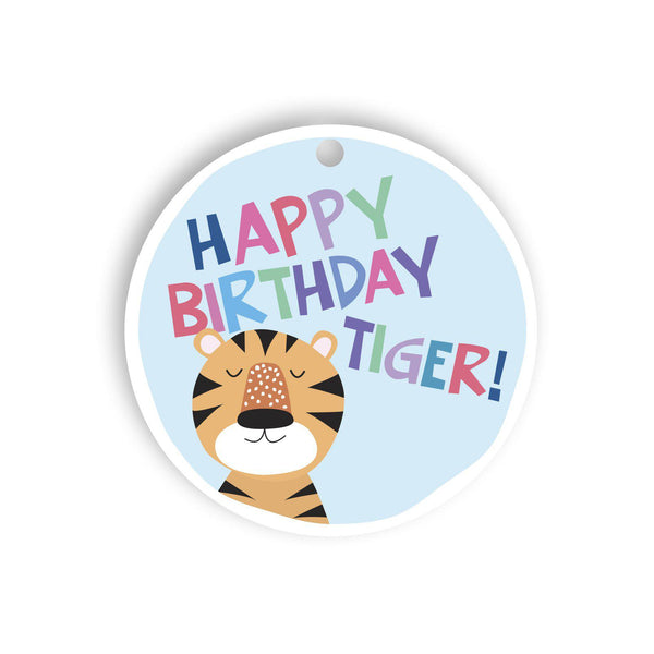 Happy birthday tiger gift tag