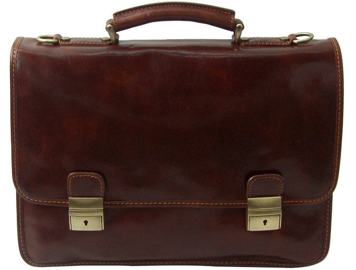 Italian Leather Slimline Laptop Briefcase Twin...