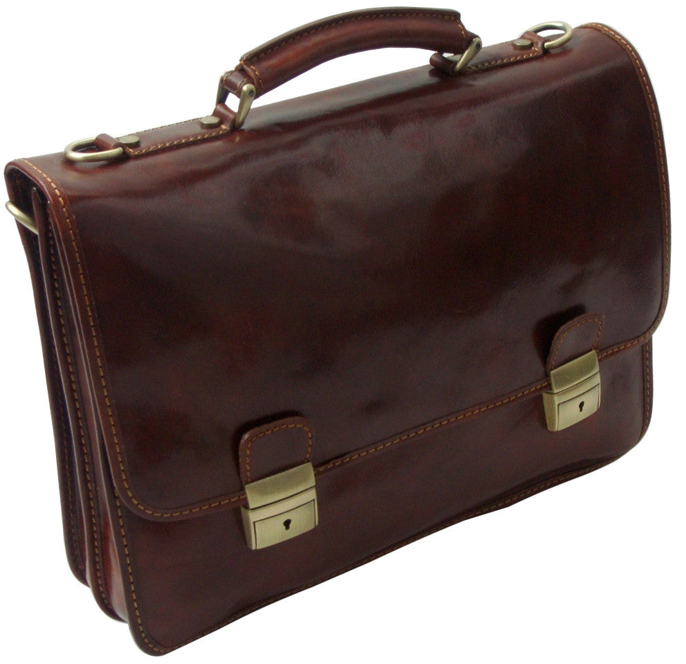 Mens Leather Laptop Briefcase Flapover