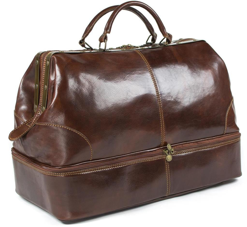 Italian Leather Double Bottom Gladstone Travel...