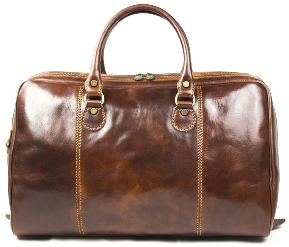 Italian Leather Slimline Hand Luggage Travel Bag