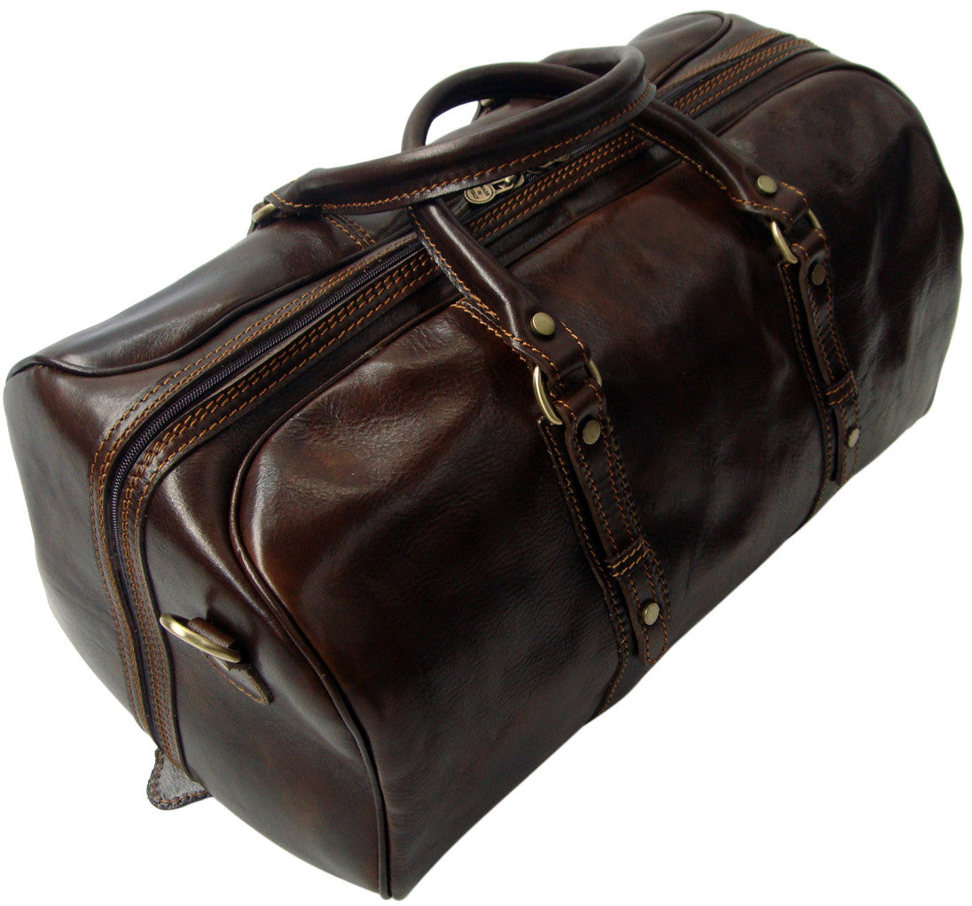 Genuine Italian Leather Holdall Dark Brown...