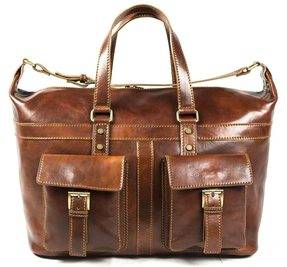 Italian Leather Travel Bag Hand Luggage Holdall