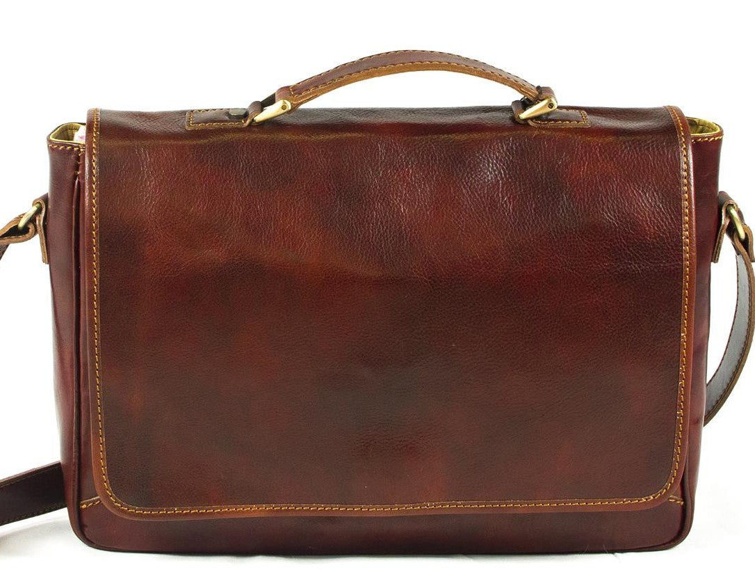 917b612064c7 Italian Leather Messenger Laptop Flapover Bag - Rivello Leather