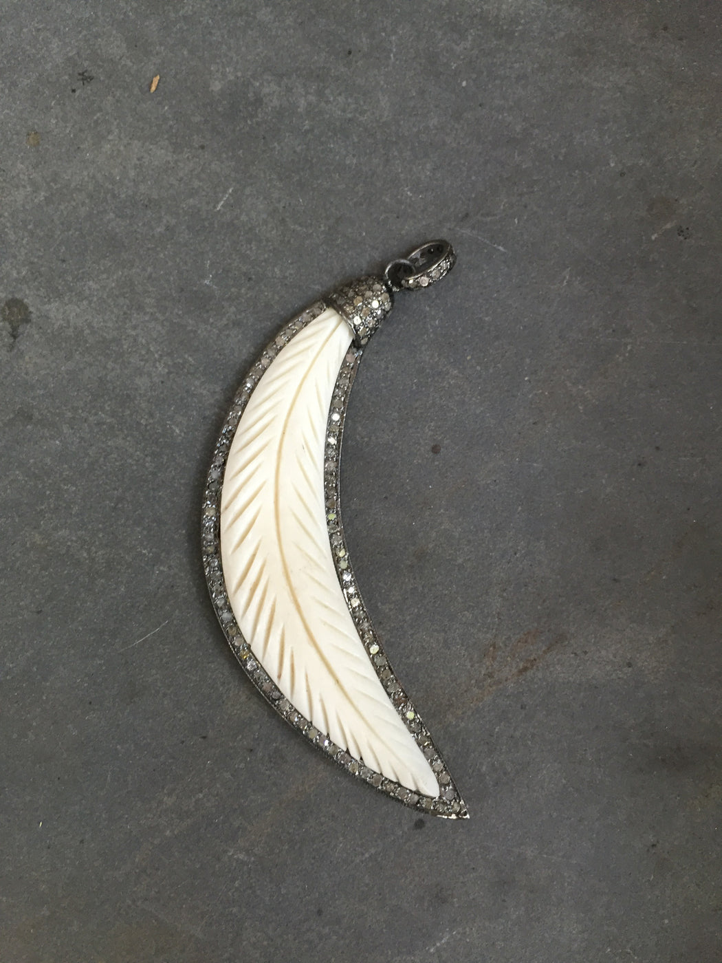 Pave Diamond Bone Crescent Leaf