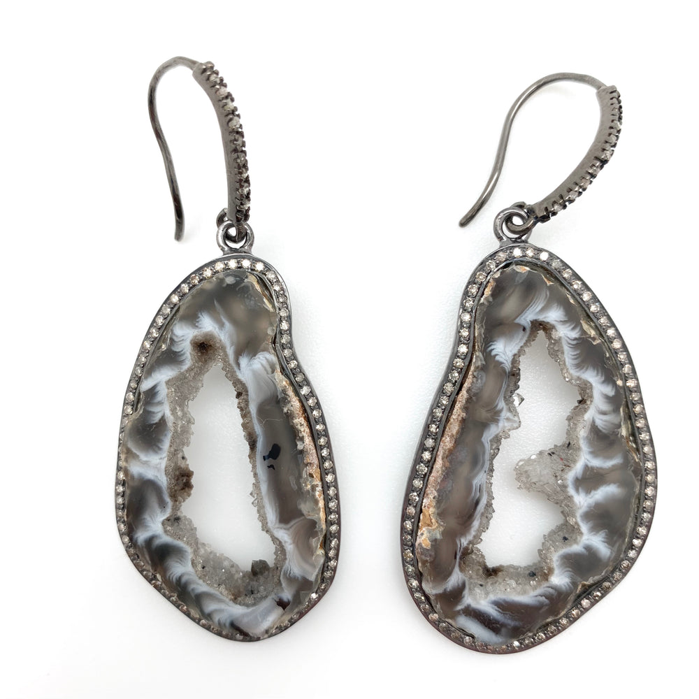 Agate Pave Diamond Earring