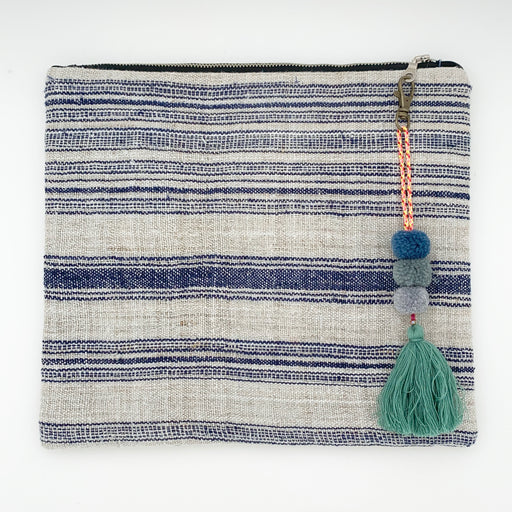 Hmong Cloth Large Clutch Blue/White