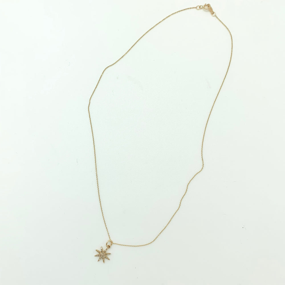 Load image into Gallery viewer, Starburst Gold Pave Diamond Necklace