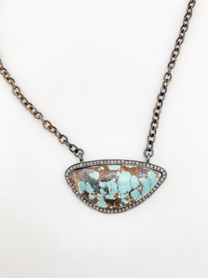 Turquoise and Pave Diamond Pendant on Sterling Silver