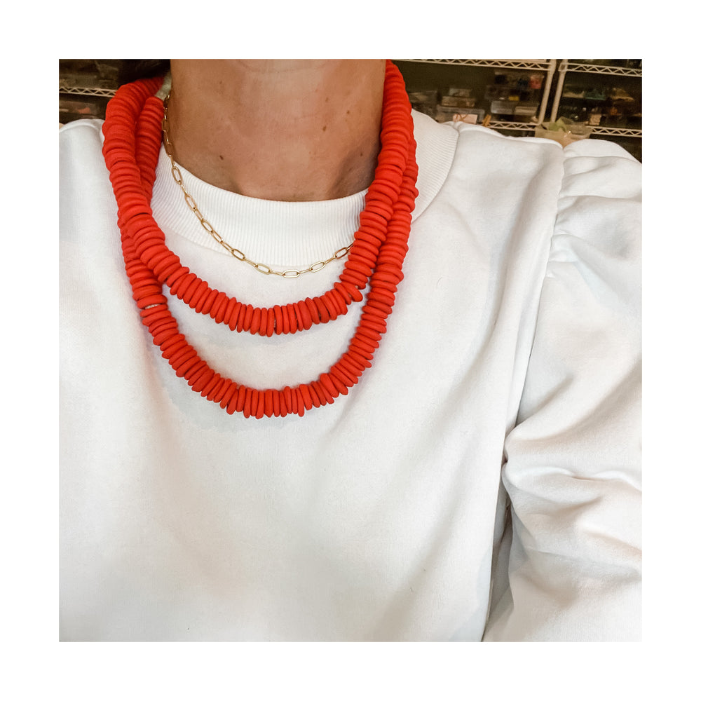 African Glass Double Wrap Necklace