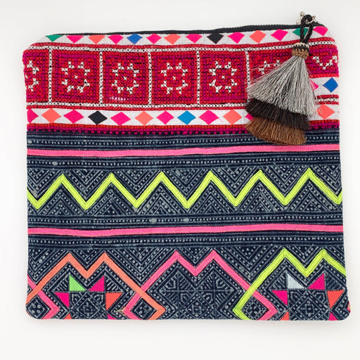 Hmong Cloth Large Clutch Pink