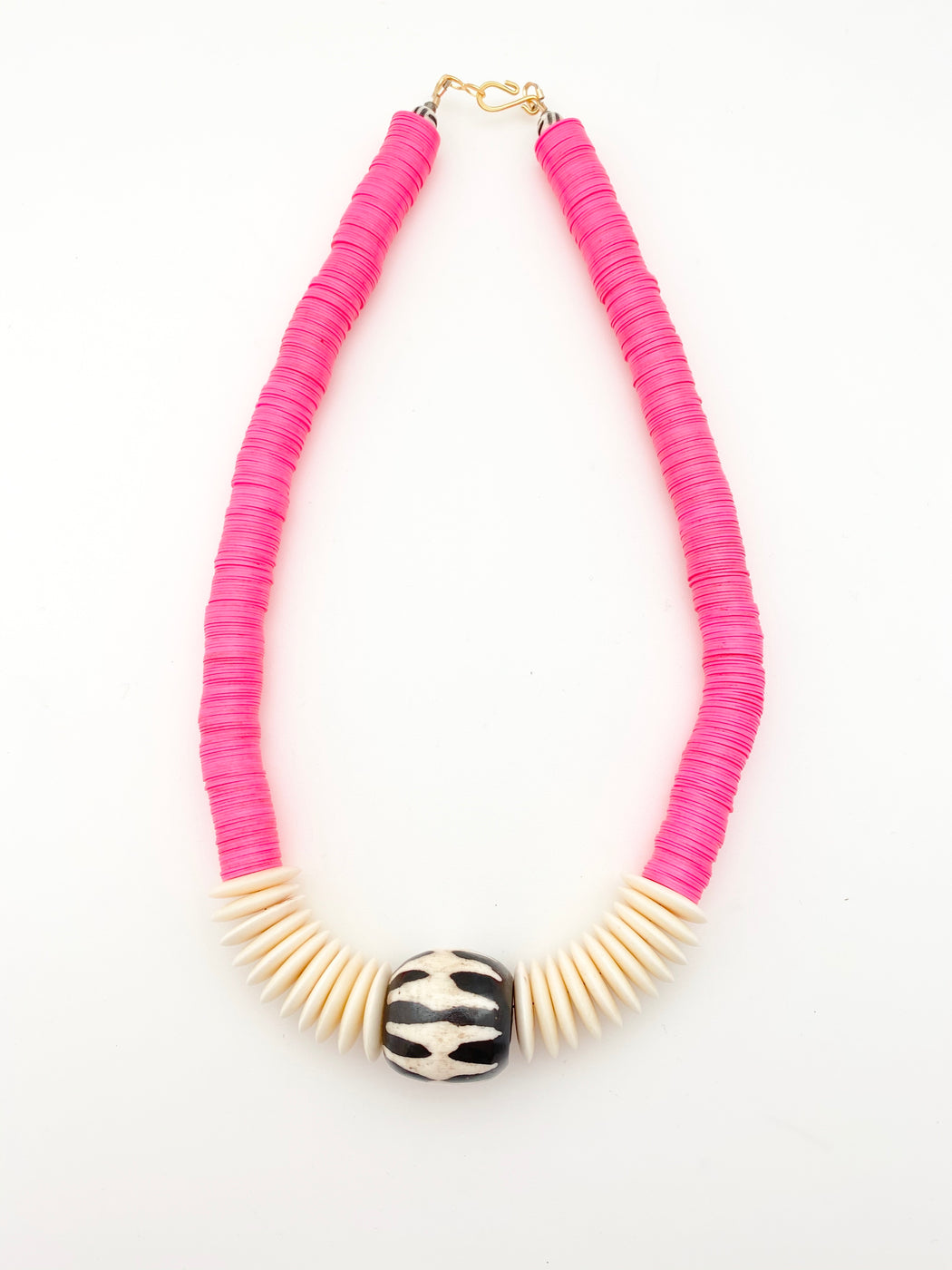 Pink Vinyl and African Bone Necklace