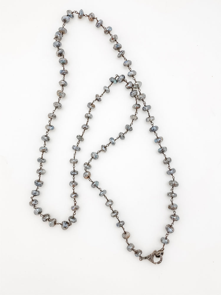 Labradorite Chain Necklace with Pave Diamond Clasp