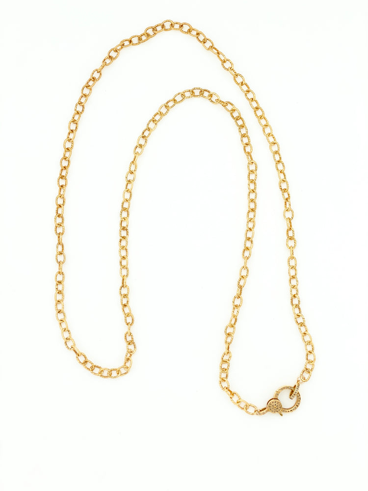 Load image into Gallery viewer, Gold Vermeil Chain with Pave Diamond Clasp