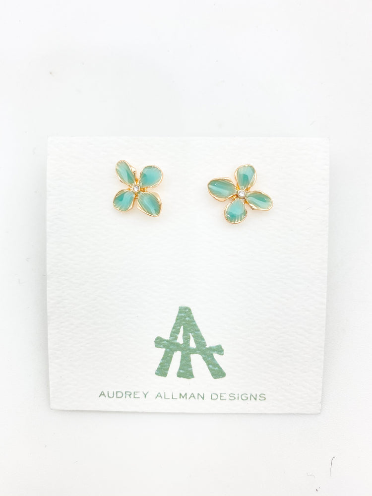 Load image into Gallery viewer, Painted Flower Stud Earrings