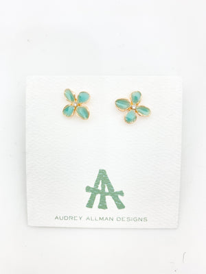 Painted Flower Stud Earrings