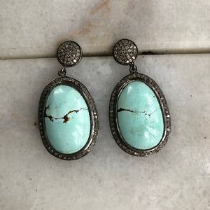 Turquoise and Pave Diamond Earrings