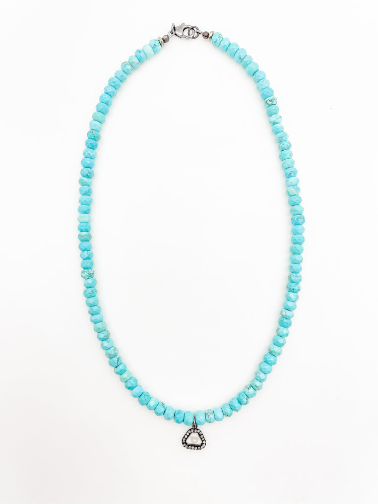 Load image into Gallery viewer, Turquoise Diamond Slice Necklace