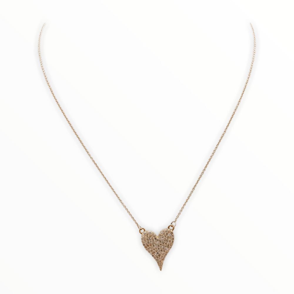 Load image into Gallery viewer, Pave Diamond Heart Necklace