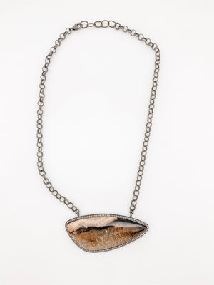Petrified Wood Stone Pendant with Pave Diamonds on sterling silver chain