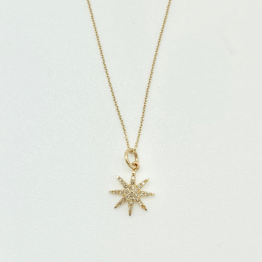 Starburst Gold Pave Diamond Necklace