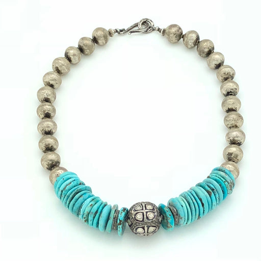 Turquoise and Silver Rose Cut Diamond Necklace