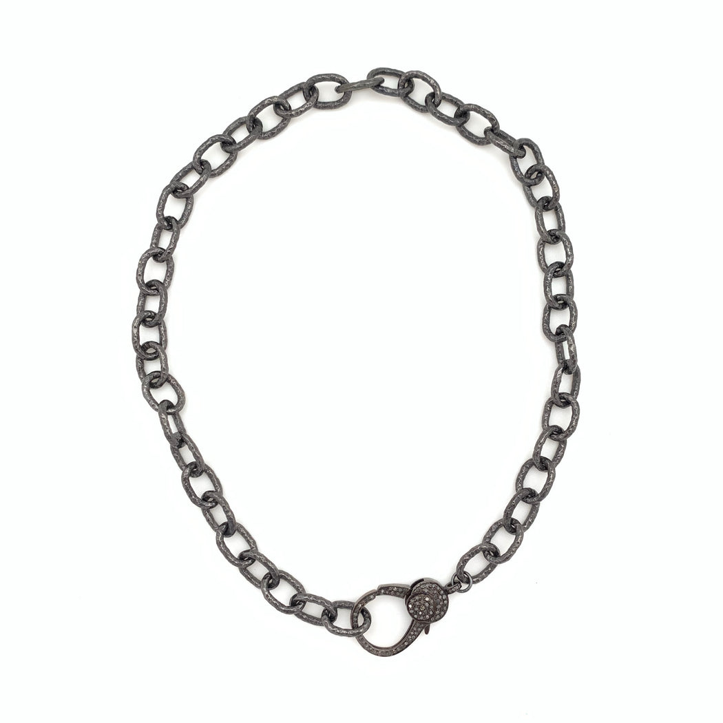 Sterling Silver Chain with Pave Diamond Clasp