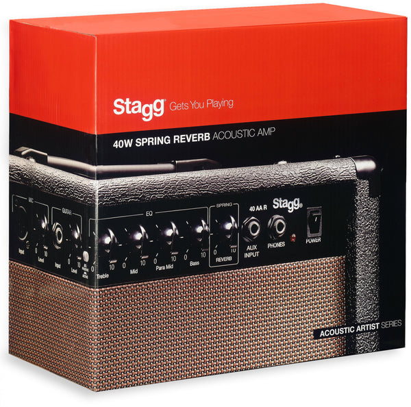 Stagg 40 AA R Spring Reverb Acoustic Amplifier 40W *Ex-Display*