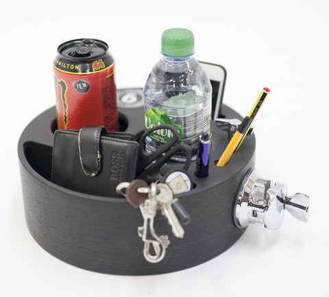 Joe's Butler caddy style drinks, wallet and phone holder with tom bracket