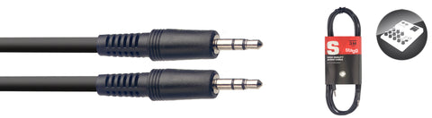 Audio cable, mini jack/mini jack (m/m), 3 m (10')