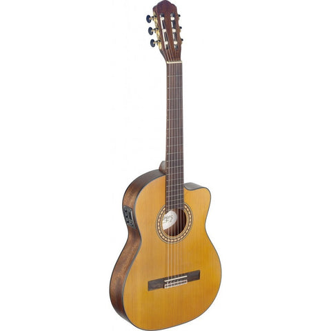 Angel Lopez SIL-TCE M Silvera Series Thin Body Cutaway Acoustic-Electric Classical Guitar