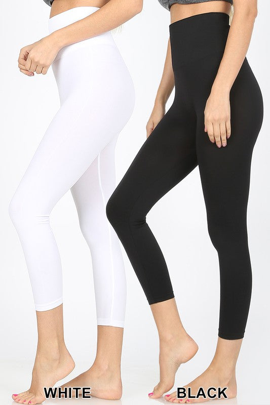 Black High Waist Tummy Control Leggings - Regular and Plus Sizes - Shoppe3130