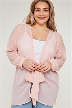 Blush Sheer Long Sleeve Kimono in Plus