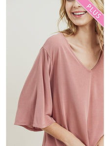 The Avery Plus Mauve Top With Bell Sleeves