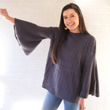 SALE Dark Gray Knit Bell Sleeve Sweater
