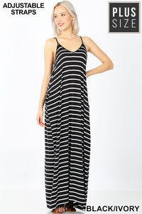 Plus Stripe Black Ivory Cami Dress With Pockets - Shoppe3130