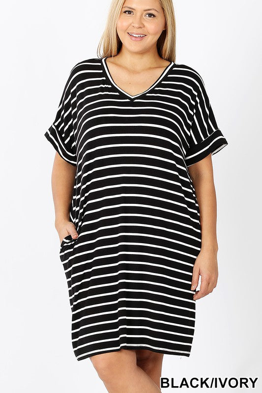 Plus Rolled Short Sleeve V-Neck Dress - Shoppe3130