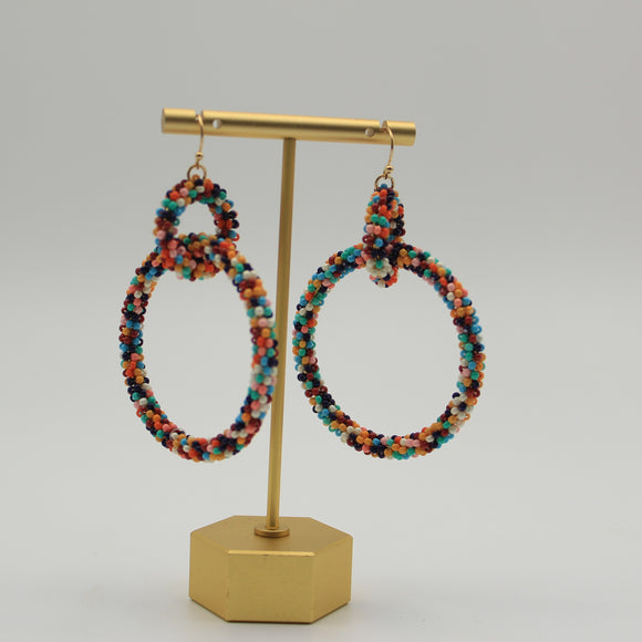 Double Seed Bead Loop Earrings - Shoppe3130